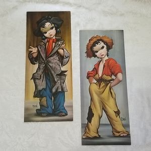 Set of 2 VTG Eden Hobo Girl Cardboard Prints